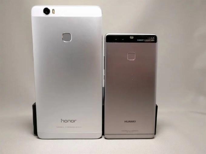 Huawei Honor Note 8 と Huawei P9 裏面 サイズ比較