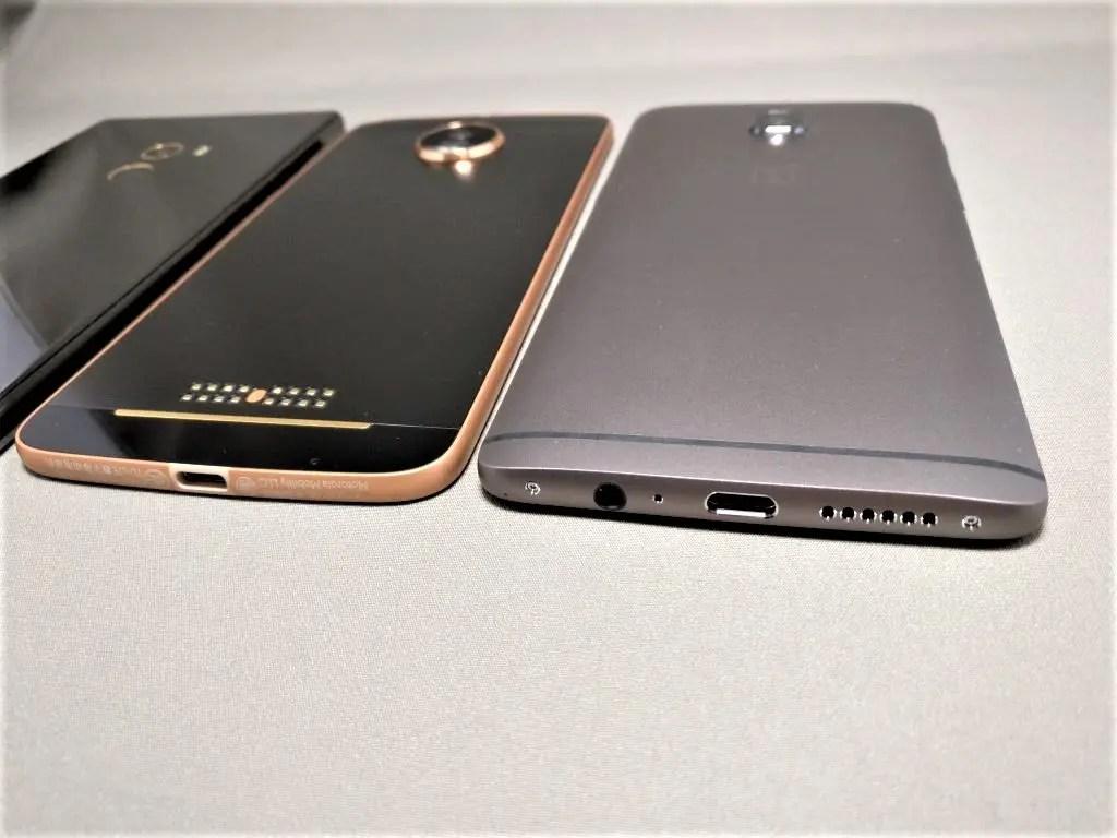 Xiaomi Mi MIX(6.4)・Huawei honor note 8(6.6)・OnePlus3T(5.5)・Motorola Moto Z(5.5) 外観・サイズ感比較