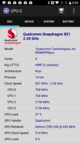 OnePlus 3T CPU-Z Snapdragon 821 MSM8996 Pro 2.35GHz 4コア