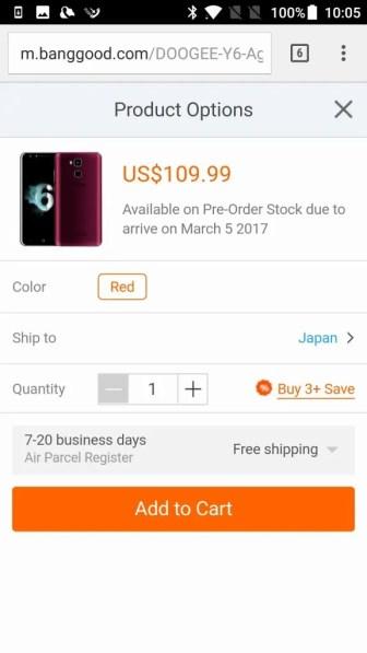 Banggood 商品ページ スマホ商品ページで倉庫:CN(中国)は表示されない