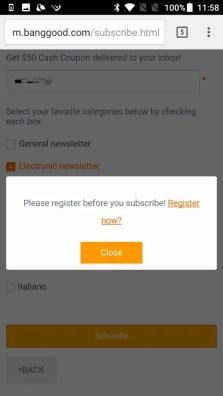 Banggood ユーザー登録 ニュースレター登録したついでにユーザー登録もする