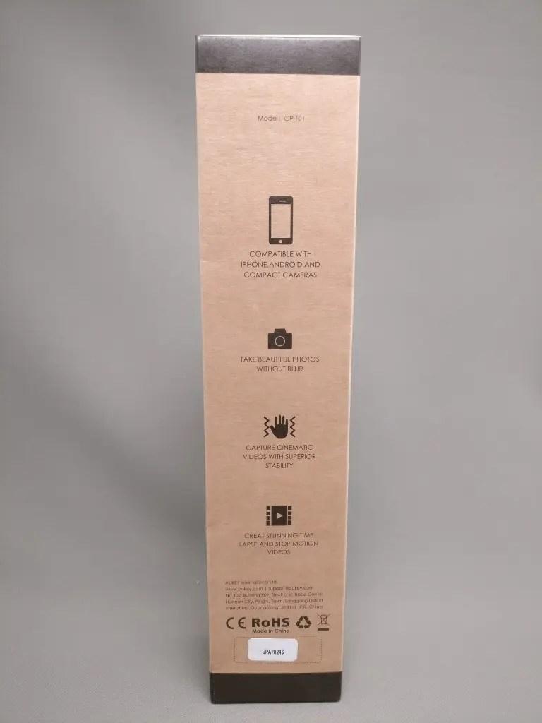 AUKEY ミニ三脚+スマートフォンホルダー CP-T01 化粧箱 裏