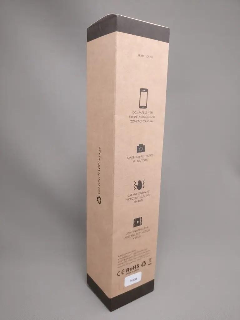 AUKEY ミニ三脚+スマートフォンホルダー CP-T01 化粧箱 裏斜め