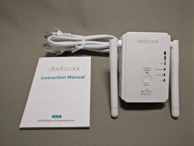 dodocool N300 Wifiルーター・中継器・APモード 3役 11g/b/n対応 300Mbps コンセント直挿し 付属品など