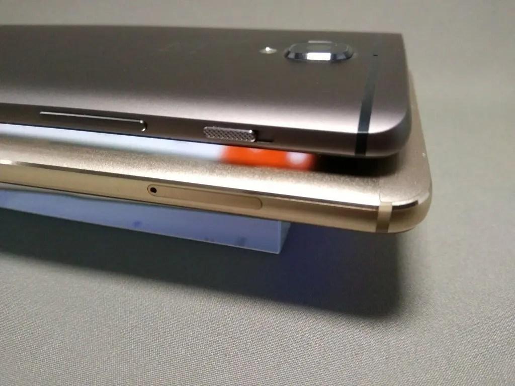 OnePlus 3TとHuawei Mate9 側面左上