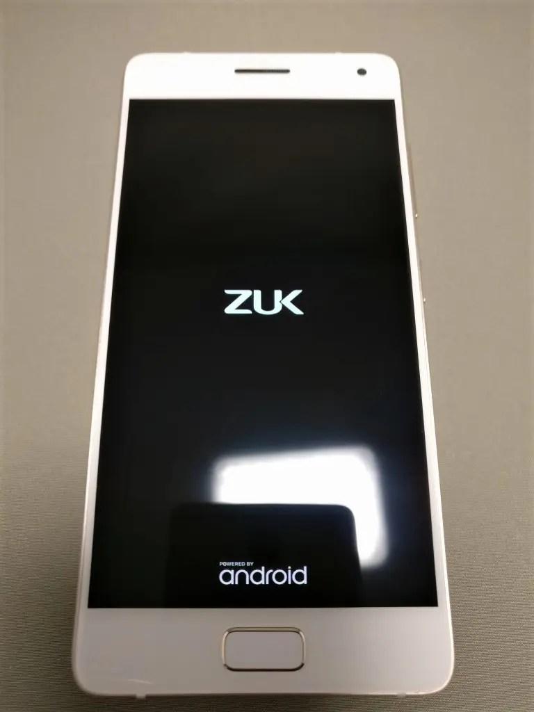 Lenovo ZUK Z2 Pro 起動 ZUKアイコン 白