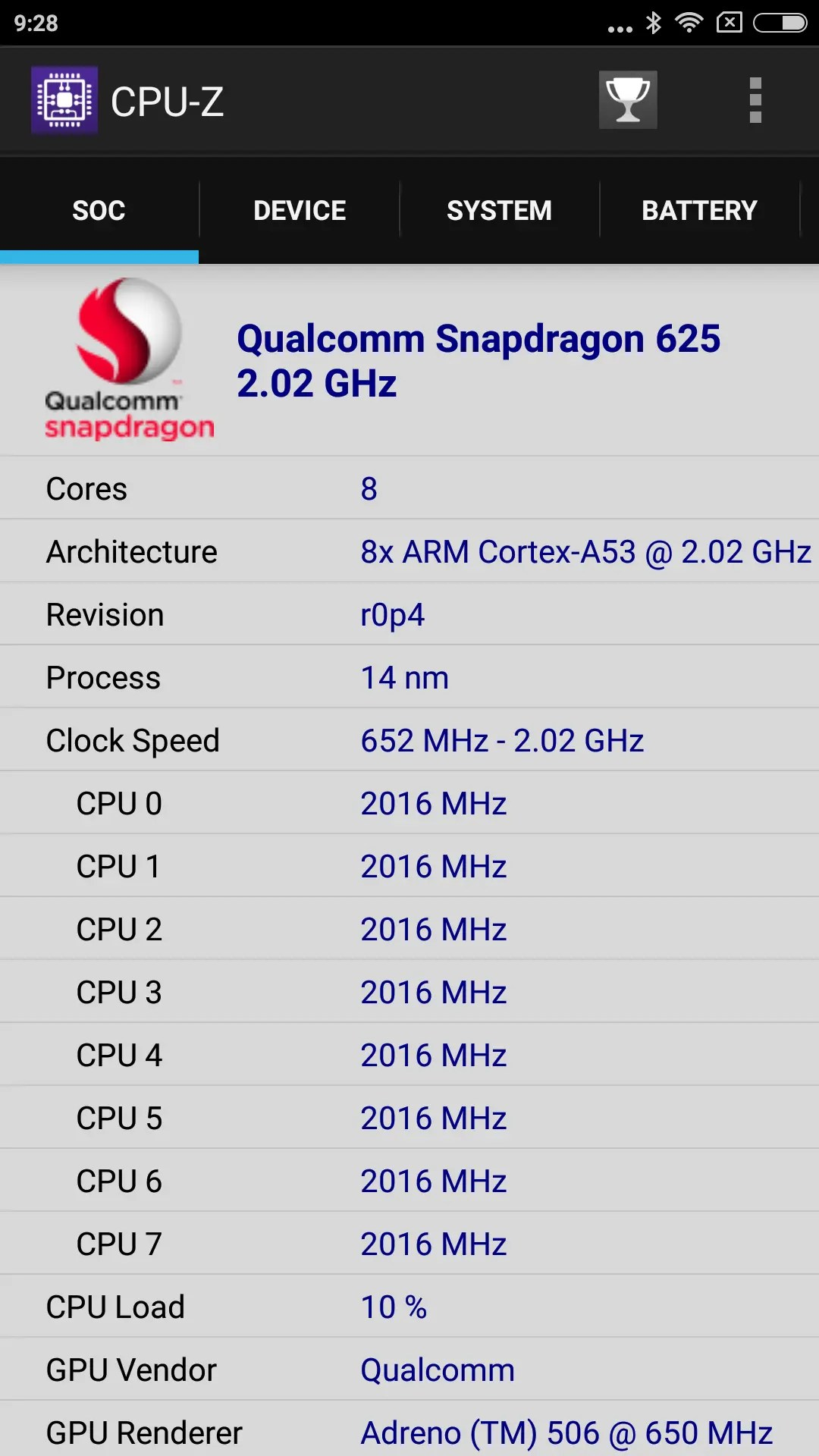 Xiaomi Redmi Note 4X CPU-Z SOC