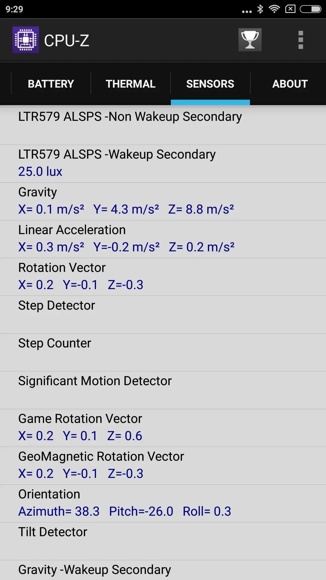 Xiaomi Redmi Note 4X CPU-Z Sensors 2