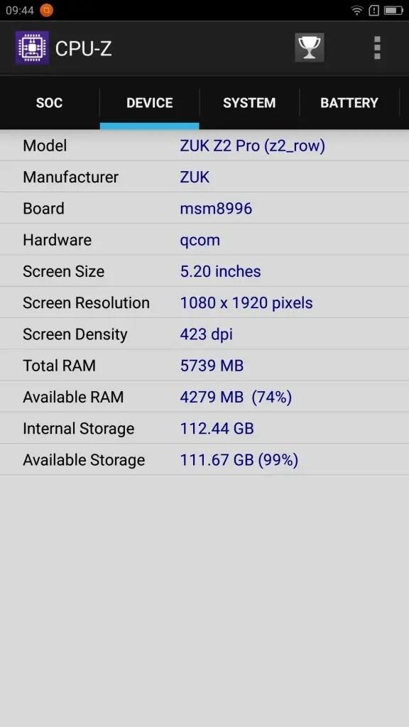 Lenovo ZUK Z2 Pro CPU-Z DEVICE
