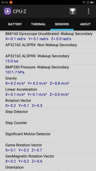 Lenovo ZUK Z2 Pro CPU-Z Sensors 2