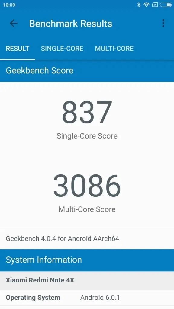 Xiaomi Redmi Note 4X GeekBench 837