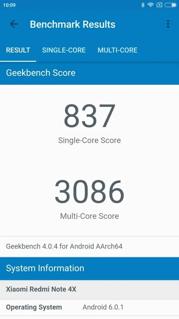 Xiaomi Redmi Note 4X GeekBench 837