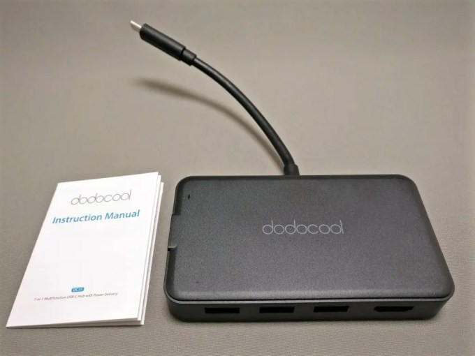 dodocool HDMI D-sub 有線LAN USB3.0 7役 USB-C PDハブ 本体・取説