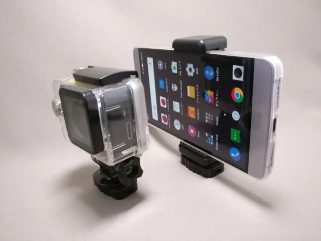 AUKEY スマートフォンホルダー+三脚 CP-T03 アクションカメラとスマホを装着 ななめ