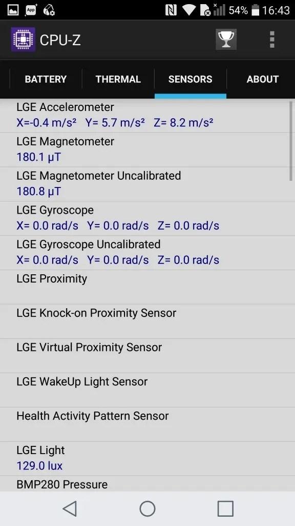 LG V20 Pro CPU-Z Sensors