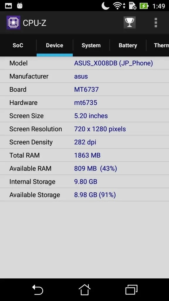 ASUS Zenfone Max 3 CPU-Z Device