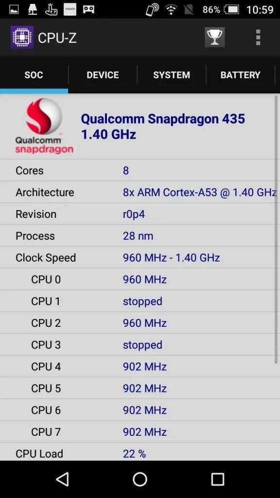 楽天モバイル シャープ SH-M04 CPU-Z SOC