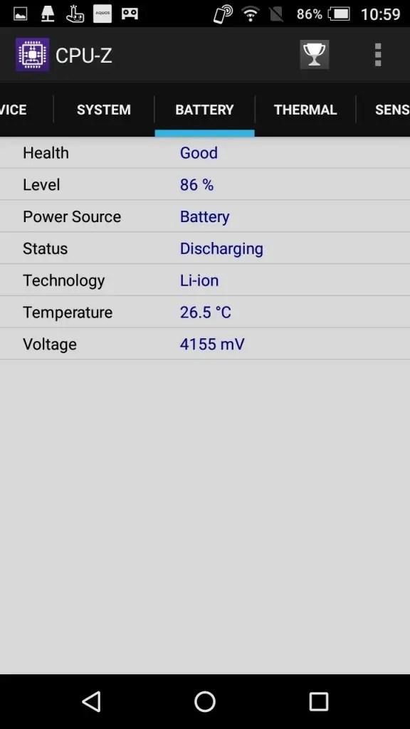 楽天モバイル シャープ SH-M04 CPU-Z Battery