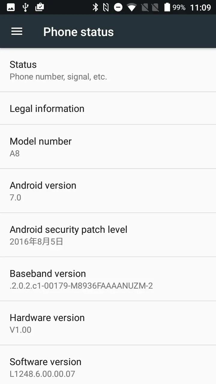 AGM A8 端末情報