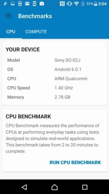 Xperia X Compact Geekbench System