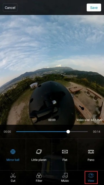 Mi Sphere Cameraアプリ 編集開始 View