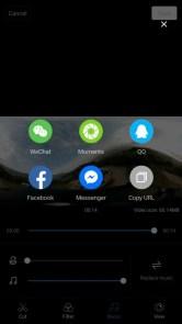 Mi Sphere Cameraアプリ 動画編集完了 シェアもできる シェアするSNS