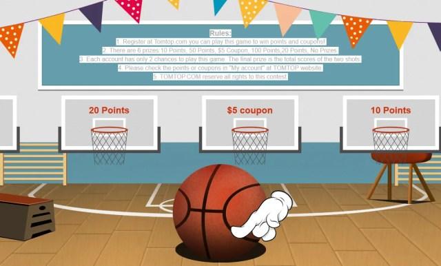 TOMTOP 13周年記念セール バスケットゲーム ボールをクリック