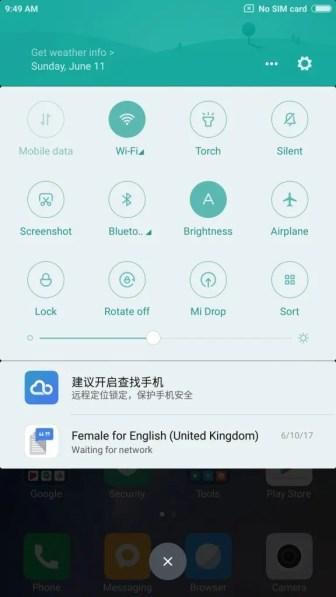 Xiaomi Mi Max 2 English 通知パネル2