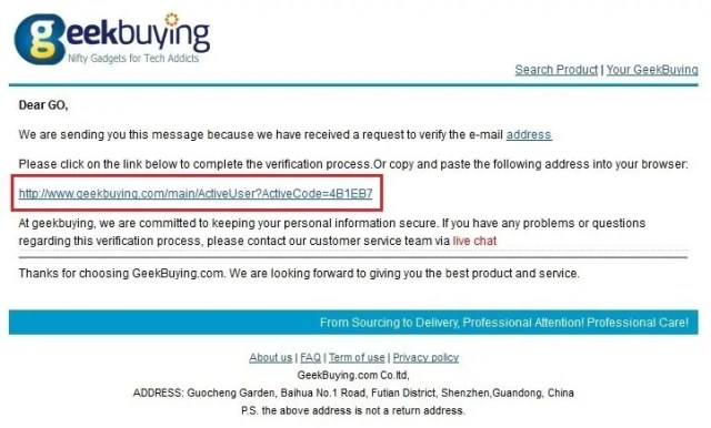 Geekbuying 確認URL