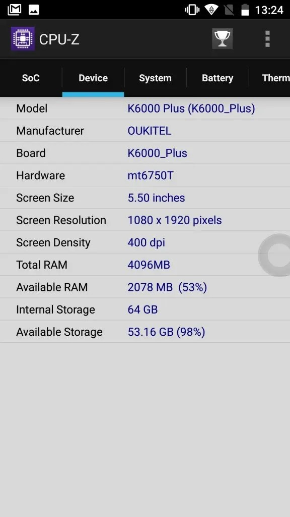 OUKITEL K6000 Plus CPU-Z2