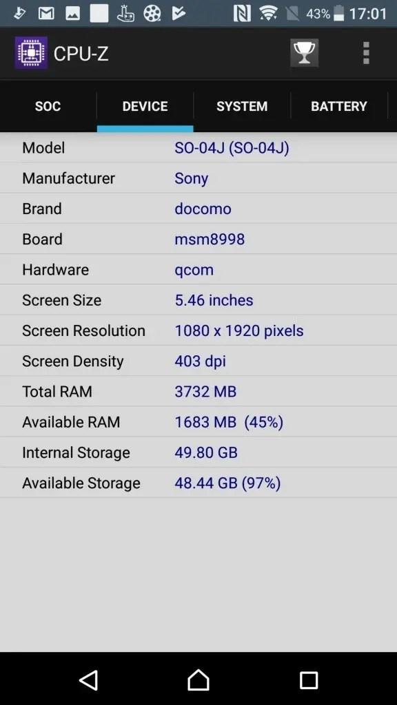 Xperia XZ Premium CPU-Z 3