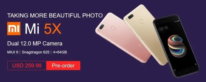 Xiaomi mi 5x presale