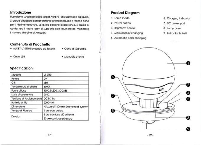 Aukey LEDデスクランプ LT-ST10  取説