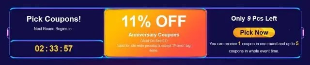 Banggood 11 Anniversary クーポン 11%