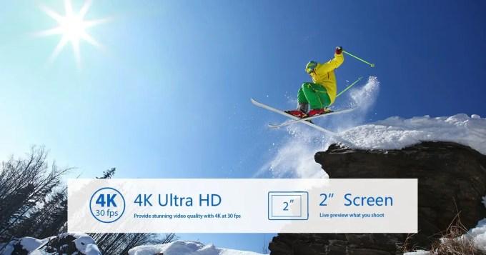 EKEN H8s 4K アクションカメラ スキー