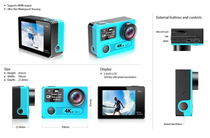 EKEN H8s 4K アクションカメラ  構造