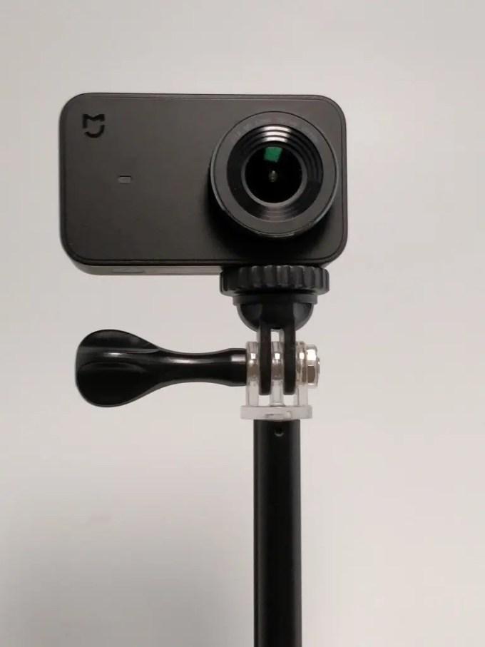 Xiaomi Mini アクションカメラに雲台を付けて自撮り棒に装着
