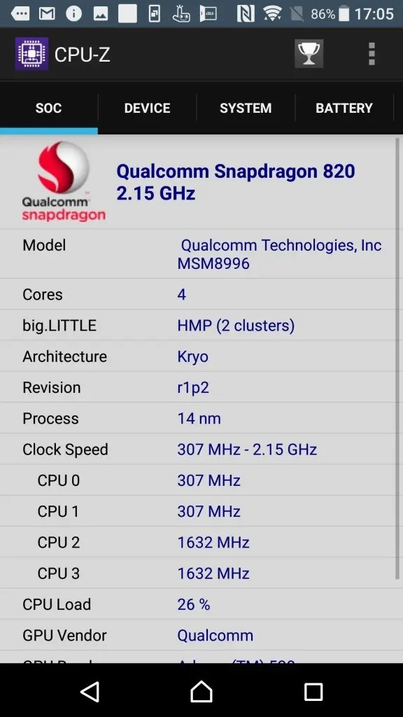 Xperia XZs CPU-Z 1