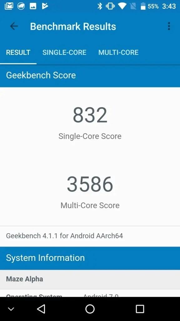 MAZE Alpha GeekBench1