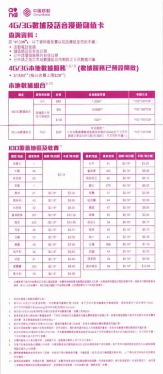 中国移動香港 各国4G/3G対応・音声&データ通信ローミングプリペイドSIM チャージ