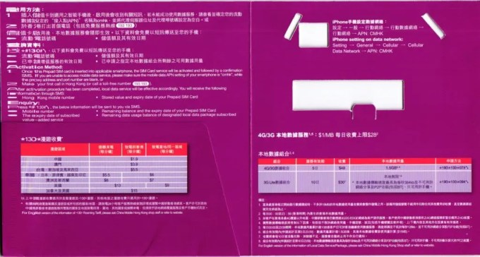 中国移動香港 各国4G/3G対応・音声&データ通信ローミングプリペイドSIM パッケージ 裏