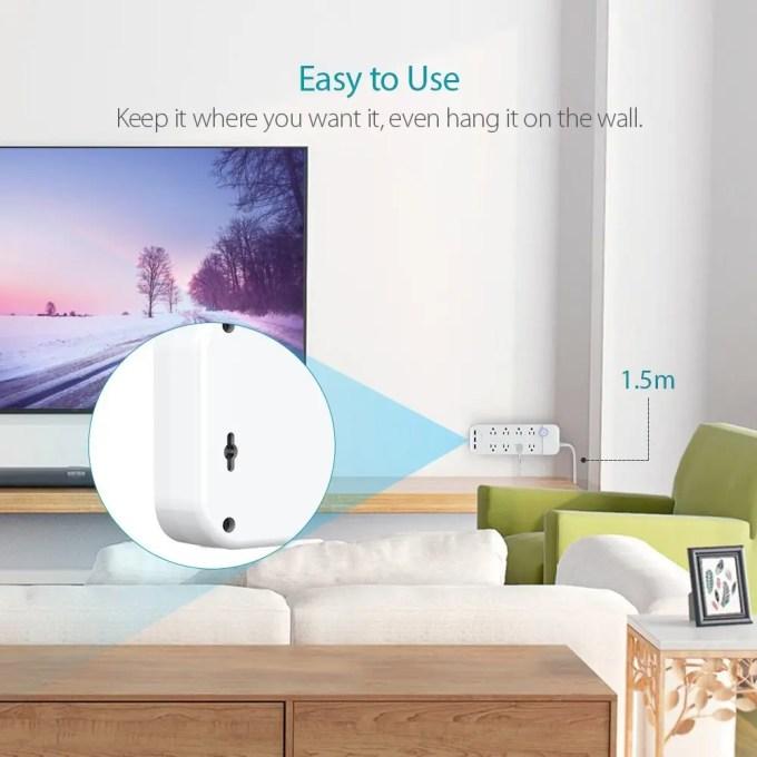 dodocool コンセント8口+USB充電ポート3口 電源タップ 商品画像 裏 フック