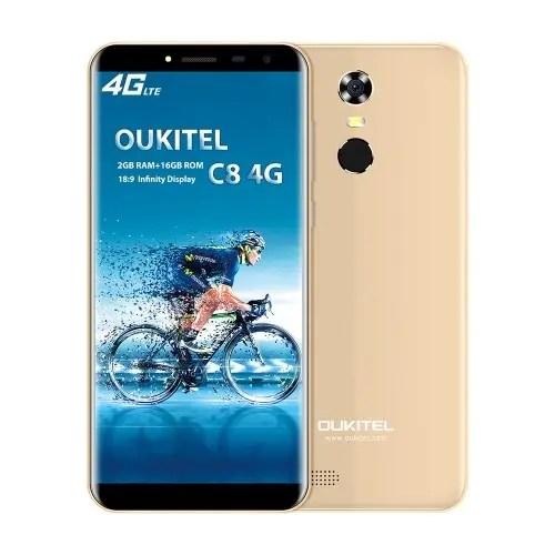 tomtop OUKITEL C8 MTK6737 1.3GHz 4コア GOLD(ゴールド)