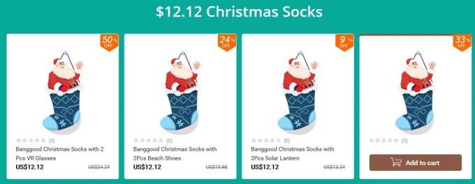 クリスマスソックス 福袋 12.12ドル