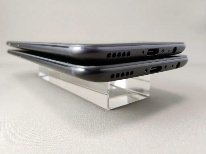OnePlus 5Tと旧機種OnePlus 5 外観比較 側面下