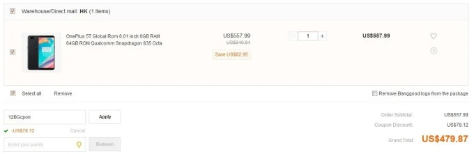 OnePlus 5T Global Rom 6GB/64GB クーポン