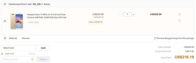 Huawei Honor 7X BND-AL10 4GB/32GB クーポン