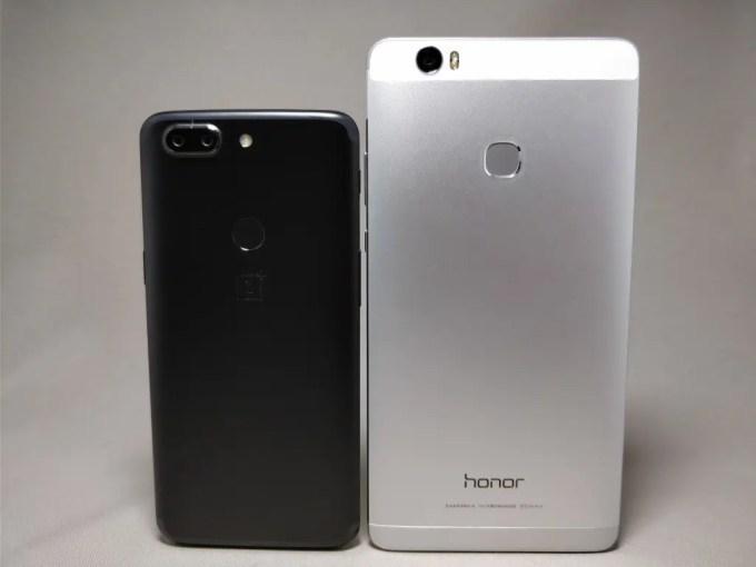 Huawei Honor note 8 VS OnePlus 5T裏