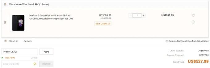 OnePlus 5 8GB/128GB クーポン