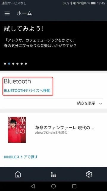 Amazon Echo Dot ホーム画面 BT